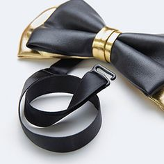 Men's Black and Gold Leather Bow Tie