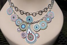 Necklace Assemblage Paisley whimsical pastels by artprose, via Etsy.