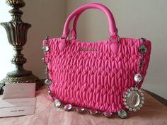 bc17c3619173 Miu Miu Matelasse Sechella Crystal in Rosa Neon Lambskin. Fluro-pink with  jeweled chain
