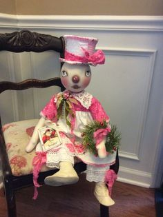 Primitive Folk Art Ooak  Shabby Chic Snowman Christmas Doll #NaivePrimitive