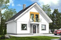 Projekt Dom Dla Ciebie 6 bez garażu [B] 108,4 m2 - koszt budowy 167 tys. zł - EXTRADOM Attic Rooms, Small House Design, New House Plans, Home Fashion, Diy And Crafts, Shed, New Homes, Farmhouse, Exterior