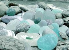 aqua beach glass