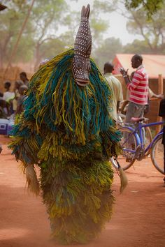 The festival of masks in Burkina Faso including masks, leaves, fiber masks, feather masks, white masks, masks with straw masks skins