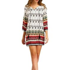 07e8adc2dc2d Sunsent Women Vintage Ethnic Style Printing Loose Casual Tunic Dress --  Hurry! Check out