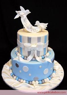 Pastel primera comunión  azul