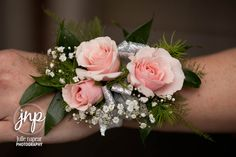 Pink Majolika spray roses, baby's breath, Metallic silver ribbon, wrist corsage for Prom 2013 www.jsnphoto.com
