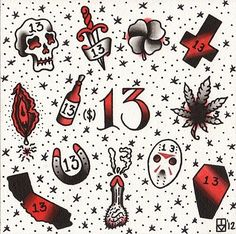 """American Traditional """"Friday the 13th"""" Tattoo Flash Sheet by Ian Manley."""