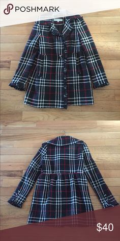 Wool blend Plaid coat Gorgeous plaid wool blend coat! Back, white, and red-excellent condition! Steve Madden Jackets & Coats