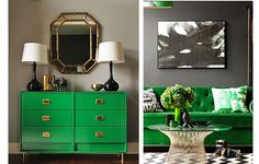 Thinking of green interiors. LWCD - Chic Combination: Emerald Green + Grey // Arianna Belle for LDV