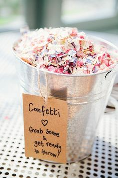 Confetti Bucket Petals Rustic Woodland Floral Wedding http://kellyjphotography.co.uk/