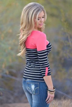 Favorite 3/4 Sleeve Top - Small Stripes - Coral from Closet Candy Boutique