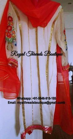 Get this custom made at Royal Threads Boutique. To place an order or for any inquiry feel free to whatsapp us @ +91-9646-916-105 or email us at royalthreadsboutique14@gmail.com Punjabi Suits, Dream Dress, Sari, Leather Jacket, Goals, Boutique, Free, Dresses, Fashion
