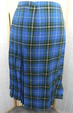 099b105abe ALJEAN of CANADA Kilt Skirt, Blue Tartan Plaid Pure Virgin Wool Size 14 M/L
