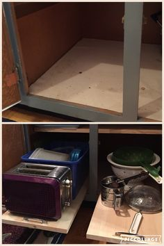 For about $10 I made these pull out shelves in my cupboard- now I can utilize all the space & I don't have to take 5 things out to reach the items in the back!