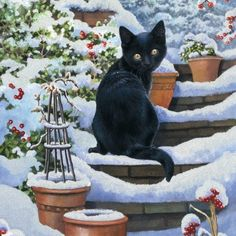 """Christmas Garden Black Cat"""