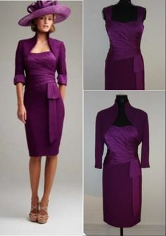 Plum Knee-Length Mother of the Bride Outfits Wedding Guest Party Dress+Jacket