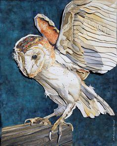 Paper Sculpture of a Barn Owl Original Artwork