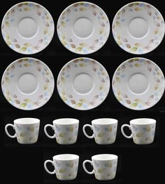 Lucca Set Of 6 Demi Cups & 6 Saucers White Espresso Cups And Plates Leaf Design in Home, Furniture & DIY, Cookware, Dining & Bar, Tableware, Serving & Linen | eBay