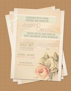 Vintage Garden Wedding Invitation Card by LaPaperPatisserie, $12.00
