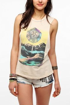 Corner Shop Black Mountain Mystical Muscle Tee  #UrbanOutfitters