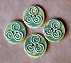4 Handmade Ceramic Buttons Triple Spiral Buttons in by beadfreaky
