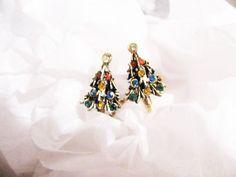 Christmas Earrings  Rhinestone Tree  Multi by WhimsicalEverAfter