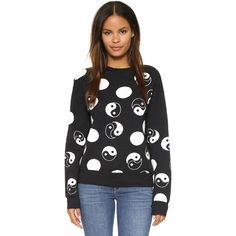 Etre Cecile Yin Yang Boyfriend Sweater ($415) ❤ liked on Polyvore featuring tops, sweaters, black, ribbed sweater, boyfriend top, relaxed fit tops, boyfriend tank top and black boyfriend sweater