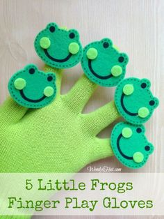 Five Little Frogs Finger Play Glove - simple DIY craft