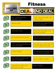 Deal or No Deal is a Fun Fitness Activity where the students make choices for the activity that the class must then do. They have fun with this activity.