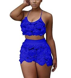 Women's Rompers Set Top+Shorts Lace Floral 2 Pieces Outfit Halter Neck Crop Rompers