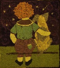 SS - SHOOTING STAR Rug Hooking Pattern - Sharon Smith  Could do this--using the photo of Maddy and Chloe