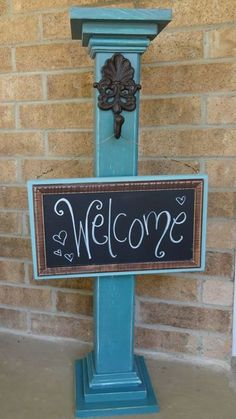 This sign post created by using a wood post, two cut to 5 inches in length to make a square, two cut to 7 to make the top and bottom pieces of the post. A little decora. Wood Projects That Sell, Scrap Wood Projects, Woodworking Projects, Diy Projects, 4x4 Wood Crafts, Wood Block Crafts, Porch Posts, Wood Front Doors, Wood Post