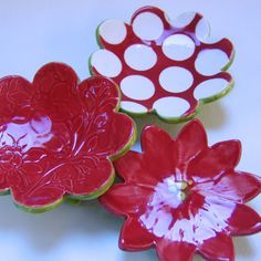 poinsettia pottery Dish Set : 3 ceramic serving by maryjudy