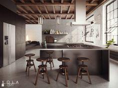 Kuchnia w stylu loft, projekt: Kola Studio, wizualizacja: Kola Studio - zdjęcie od KOLA Studio Wizualizacje Architektoniczne - Kuchnia - Styl Industrialny - KOLA Studio Wizualizacje Architektoniczne