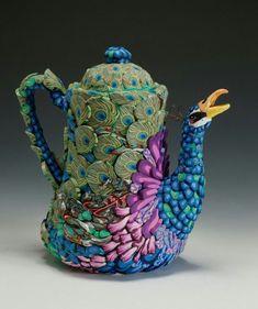 glamorous peacock teapot