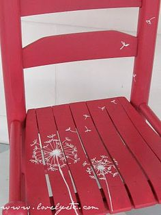 Would love to paint something like this on the kids' little wooden rocker #PaintedChair
