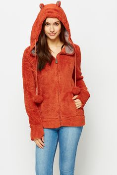 #Hanorac dama din fleece cu fermoar si #Urechi Orange - MuJeR.ro http://www.mujer.ro/hanorac-dama-din-fleece-cu-fermoar-si-urechi-orange