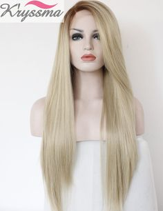 AmazonSmile : K'ryssma Ombre Heat Resistant Fashion Blonde Women Lace Front Wigs 2 Tones Straight Synthetic Hand Tied Fiber Hair : Beauty