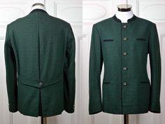 Vintage Trachten Jacket, Austrian Tyrol Green Black Check Blazer w Faux Antler Buttons, Bavarian Octoberfest Janker Jacket: Size 42 US/UK