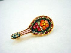 CUTE Vintage Mosaic Mandolin Brooch ON SALE on Etsy