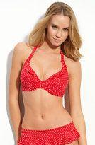 Red polka dot bikini....and she wore it to the beach!!