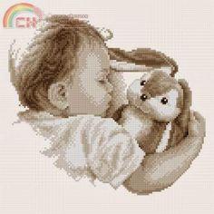 schema punto croce bambino che dorme | Hobby lavori femminili - ricamo…
