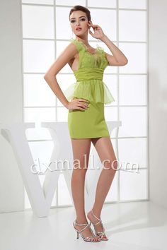 Sheath/Column Party Dresses Straps Short/Mini Chiffon Sage 05001040009