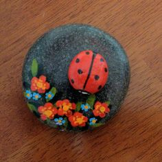 Painted rock with ladybug.