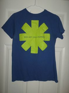 Women's Blue & Lime Green RED HOT CHILI PEPPERS Logo Short Sleeve Shirt, Size SM #REDHOTCHILIPEPPERS #CrewNeckPullOver #Casual