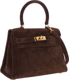 Hermes 20cm Chocolate Veau Doblis Suede Mini Kelly Bag with Gold Hardware