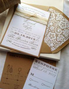 Lace Love Wedding Invite by NewBorrowedAndBlue on Etsy, $7.45