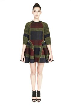 'Dori' embroidered black foil printed canvas skater dress with raglan sleeves in a blue,red and yellow tartan pattern with a conceal zip bone detail. Tartan Pattern, Morphe, Party Fashion, Skater Dress, Personal Style, Celebrity Style, Label, Product Launch, High Neck Dress