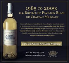 1985 to 2009: 114 Bottles of Pavillon Blanc du Chateau Margaux - The Antique Wine Company (AWC)
