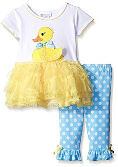 Bonnie Jean Little Girls Ducky Appliqued Playwear Set Yellow6X >>> You can get additional details at the image link.
